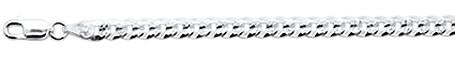 100-5MM Flat Pave Curb Chain .925 Solid Sterling Silver Available in 8