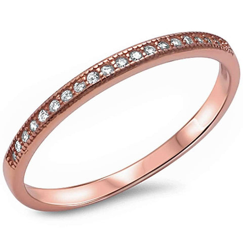 .11ct 14kt Rose Gold E-VS Round Diamond Wedding Anniversary Accent Band