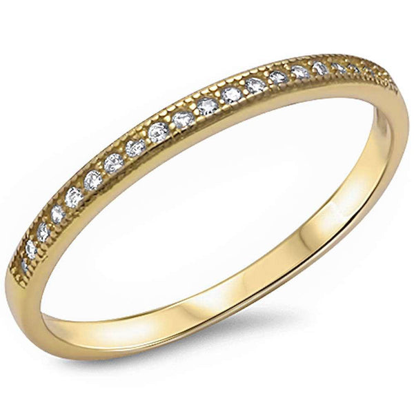 .11ct 14kt Yellow Gold E-VS Round Diamond Wedding Anniversary Accent Band