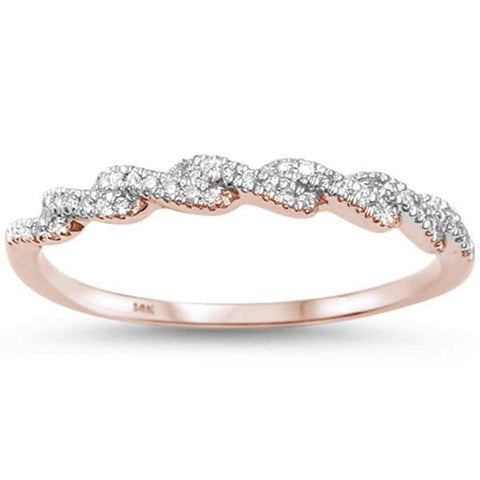 .11ct 14kt Rose Gold F SI Twisted Band Infinity Diamond Band Ring Size 6.5