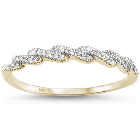 .11ct 14kt Yellow Gold F SI Twisted Band Infinity Diamond Band Ring Size 6.5