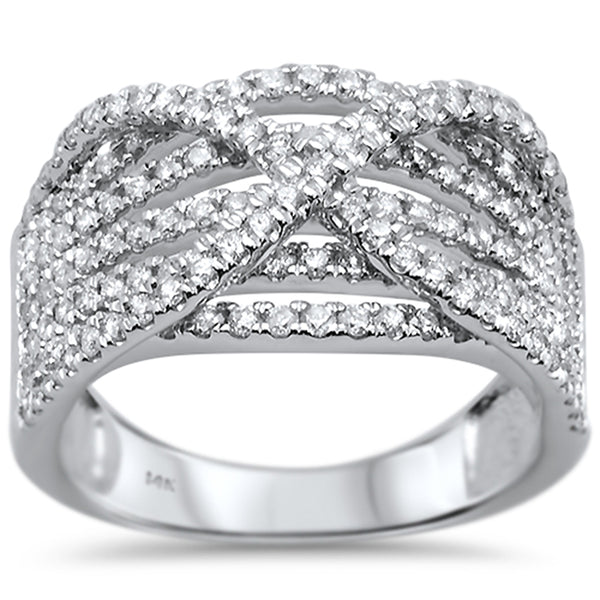 .98ct G SI 14k White Gold Diamond Statement Band Ring Size 6.5