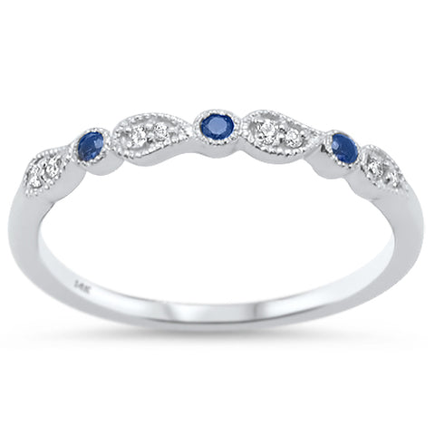 .11ct G SI 14k White Gold Blue Sapphire Diamond Wedding Band Stacklable Ring