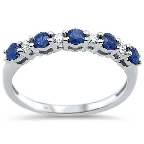 .58ct G SI 14k White Gold Blue Sapphire & Diamond Anniversary Wedding Band Ring