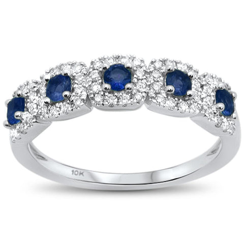 .71cts 14k White gold Round Blue Sapphire Diamond Ring Size 6.5