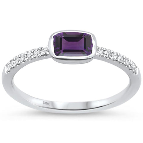 .60cts F SI 14k White Gold Purple Amethyst & Round Diamond Ring Size 6.5