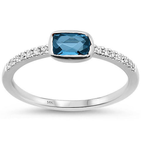 .69cts F SI 14k White Gold Blue Topaz & Round Diamond Ring Size 6.5