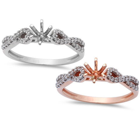 .14ct Twisted Band Diamond Semi Mount Engagement Ring 14kt White or Rose Gold