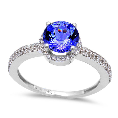 1.48ct Genuine Tanzanite & Diamond Solitaire Engagement Ring Size 6.5