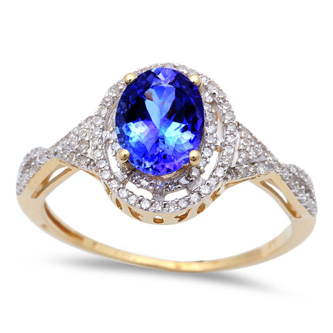 1.83ct Genuine Oval Tanzanite & Diamond Solitaire Engagement Ring 14kt
