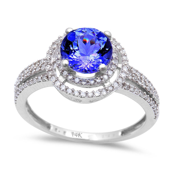 1.59ct Genuine Tanzanite & Diamond Halo Style Solitaire Engagement Ring Sz 6.5