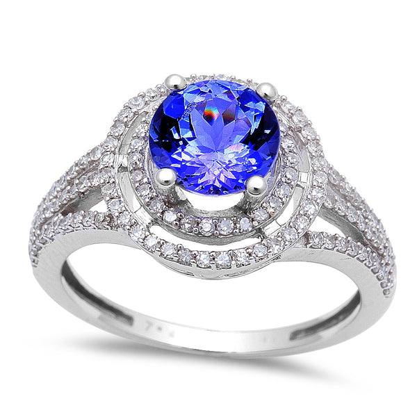 1.69ct Genuine Tanzanite & Round Diamond Halo style Solitaire Engagement Ring