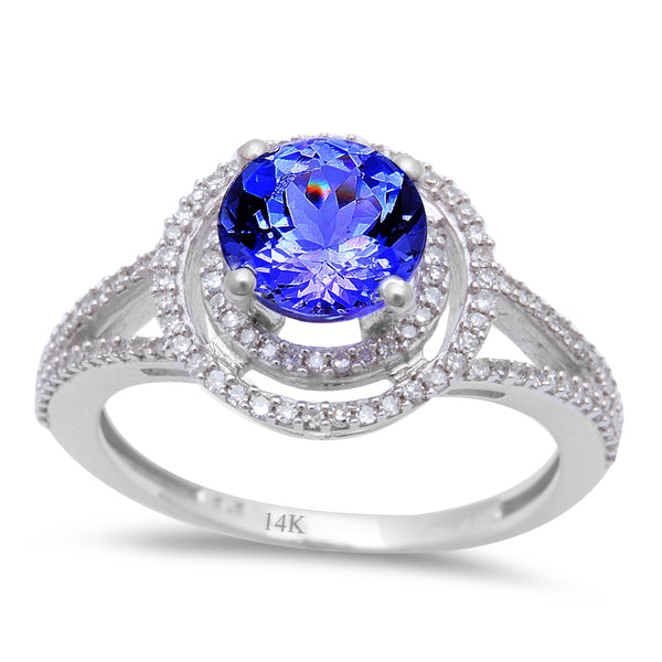 1.58ct Genuine Tanzanite & Round Diamond Halo style Solitaire Engagement Ring