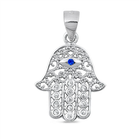 Blue Sapphire & Cubic Zirconia Hamsa .925 Sterling Silver Charm Pendant