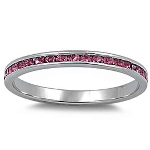 Channel set Rose Pink Cz .925 Sterling Silver Eternity Band Sizes 3-10