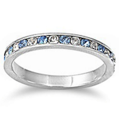 Channel set Aquamarine & Clear Cz .925 Sterling Silver Eternity Band Sizes 3-10