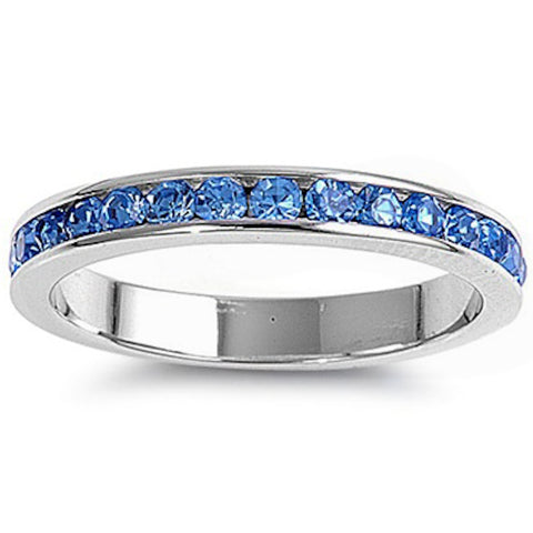 Channel set Blue Topaz .925 Sterling Silver Eternity Band Sizes 3-12