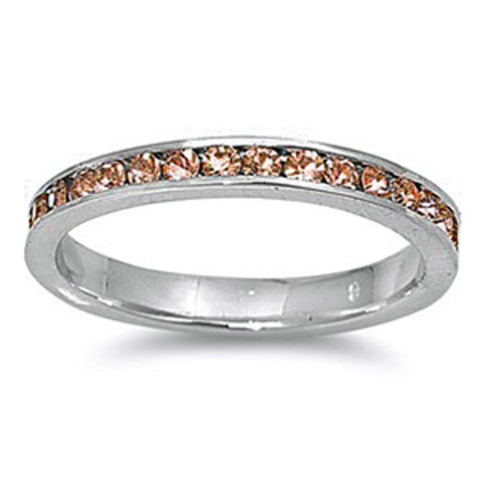 Channel set Champagne Cz .925 Sterling Silver Eternity Band Sizes 3-11
