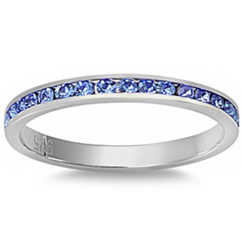 Channel set Light Blue Sapphire .925 Sterling Silver Eternity Band Sizes 4-12