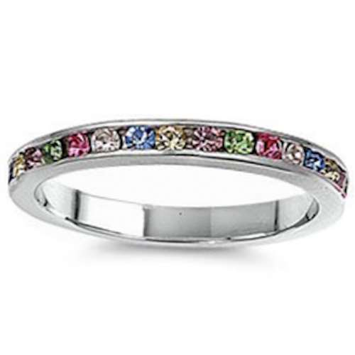 Multi colored Cz Stackable Eternity Wedding Anniversary Band .925 Sterling Silver