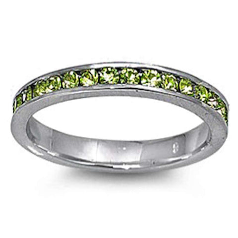 Peridot Eternity Band Ring .925 Sterling Silver Sizes 3-12