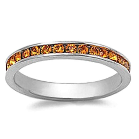 Yellow Topaz Eternity Band Ring .925 Sterling Silver Sizes 3-12