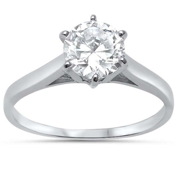 1.25ct Round Soliatire Cathedral Setting Engagement .925 Sterling Silver Ring Sizes 4-11