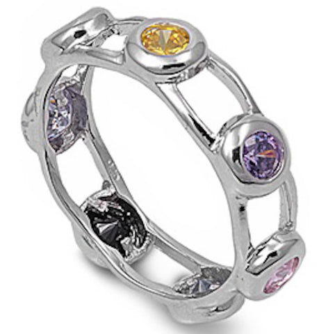 Eternity Multi Gemstone Band .925 Sterling Silver Ring Sizes 5-10