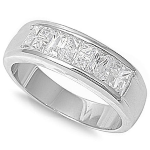 2.0Ct Men's Cz Wedding Band .925 Sterling Silver Size 9-13