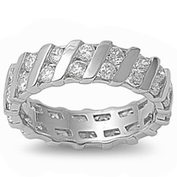 Eternity Wedding Anniversary Band .925 Sterling Silver Ring Sizes 5-9
