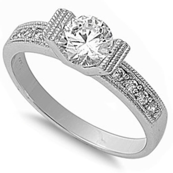 Modern Tension Set Round Cz Engagement.925 Sterling Silver Ring Sizes 5-10