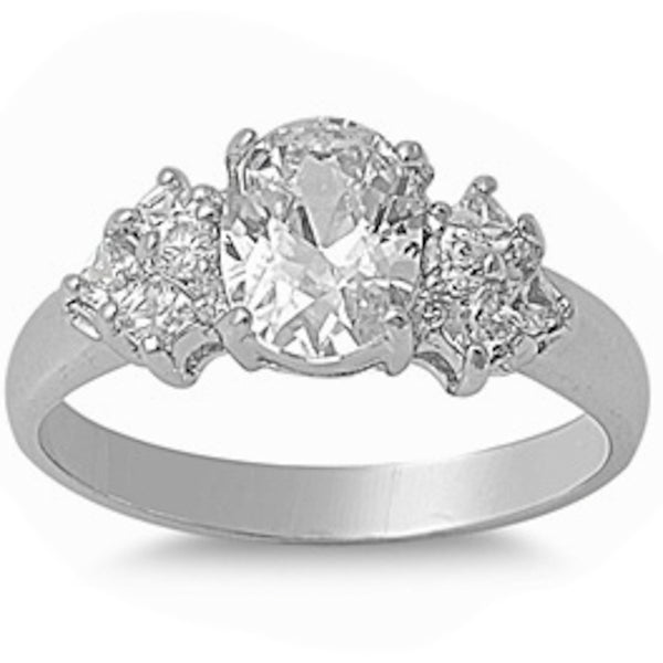 1.50Ct Oval Cut Cz Engagement Ring Solid .925 Sterling Silver Ring Sizes 5-10