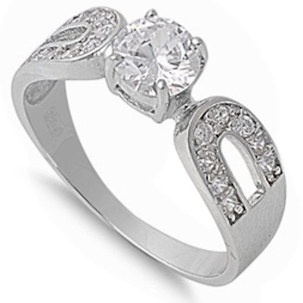 Modern .75Ct Round Cut Cz Engagement .925 Sterling Silver Ring Sizes 6-9