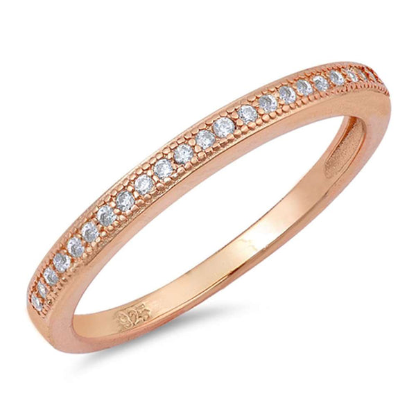 Rose Gold Plated Micropave Cubic Zirconia Band .925 Sterling Silver Ring Sizes 4-10