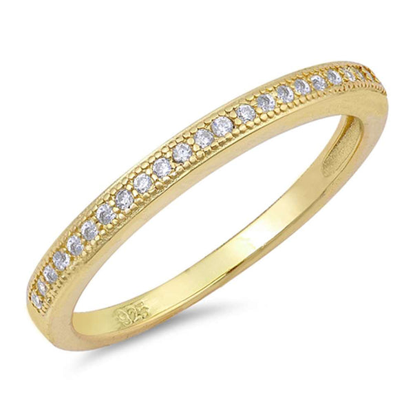 Yellow Gold Plated Micropave Cubic Zirconia Band .925 Sterling Silver Ring Sizes 4-10