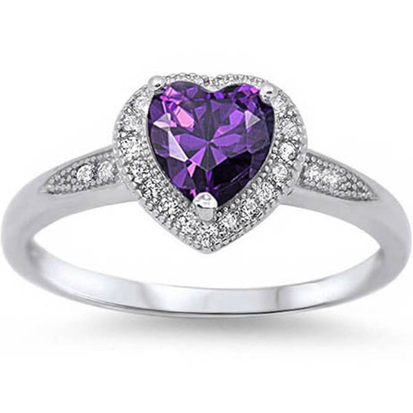 Halo Style Heart Cut Amethyst Promise Ring .925 Sterling Silver Sizes 4-12
