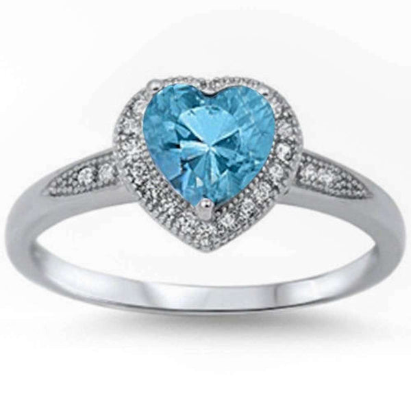 Halo Style Heart Aquamarine Promise  .925 Sterling Silver ring Sizes 4-12