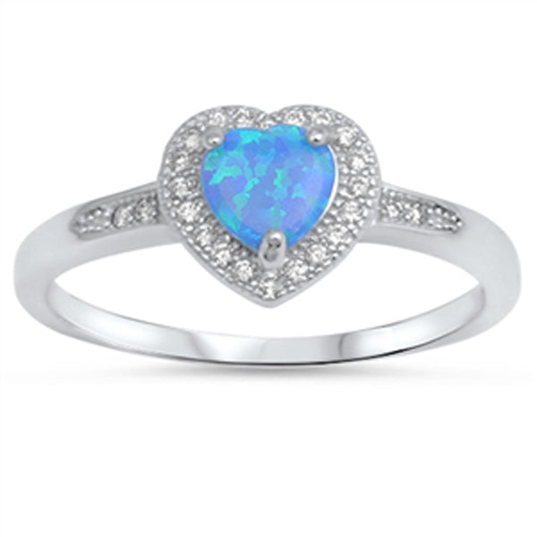 Blue Opal Heart Halo & Cz .925 Sterling Silver Ring Sizes 4-10
