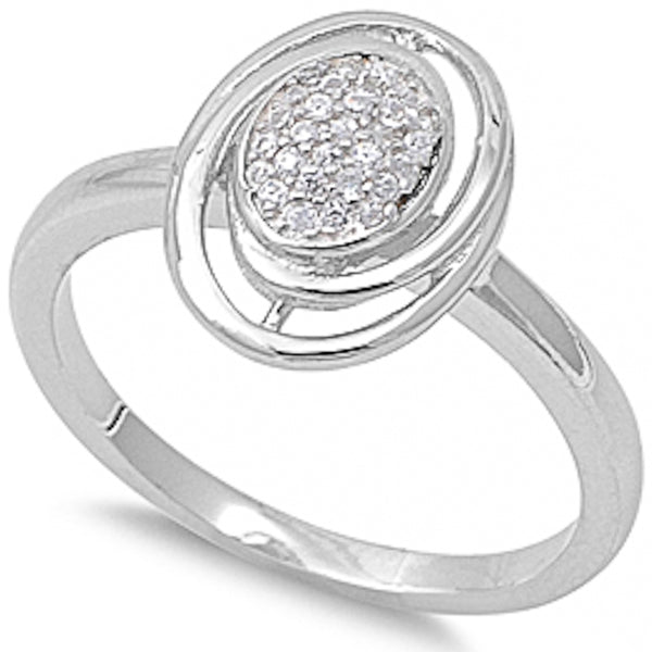 Oval with Cubic Zirconia .925 Sterling Silver Ring Sizes 5-9