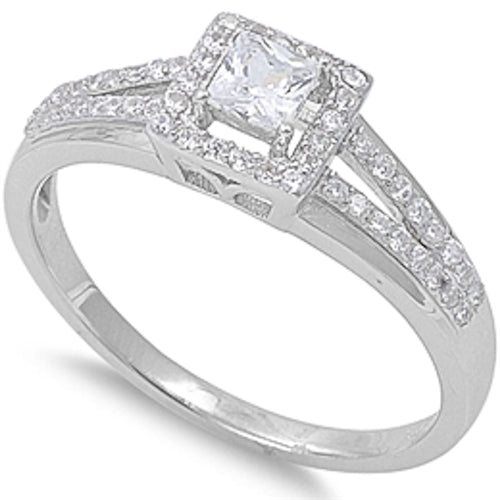 1.5CT Princess Cut CZ Engagement .925 Sterling Silver Ring Sizes 5-9