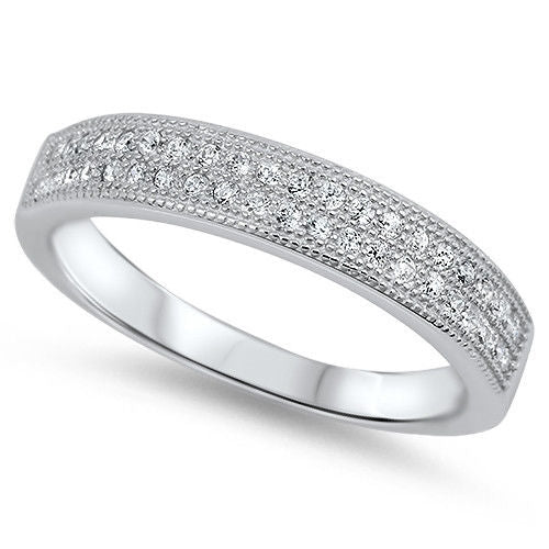CZ PAVE SET WEDDING BAND .925 Sterling Silver Ring SIZES 5-9