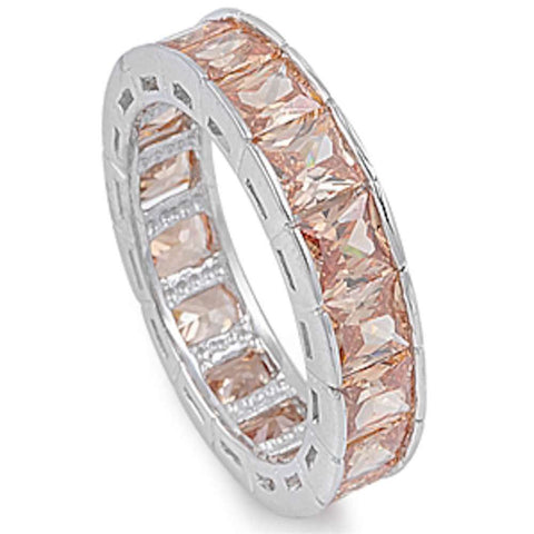 Princess cut Champagn Eternity Band .925 Sterling Silver Ring Sizes 6-9