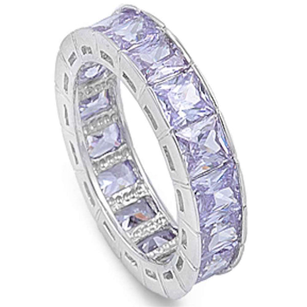 Princess cut Lavander Eternity Band .925 Sterling Silver Ring Sizes 6-9