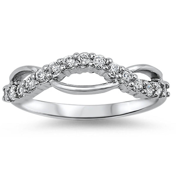Twisted Wedding Band with Cz .925 Sterling Silver Sizes 5-9