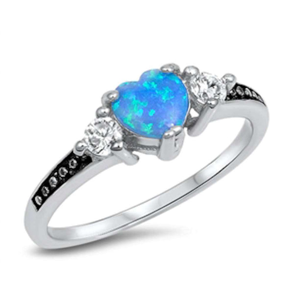 Heart Blue Opal & Cz .925 Sterling Silver Ring Sizes 4-12