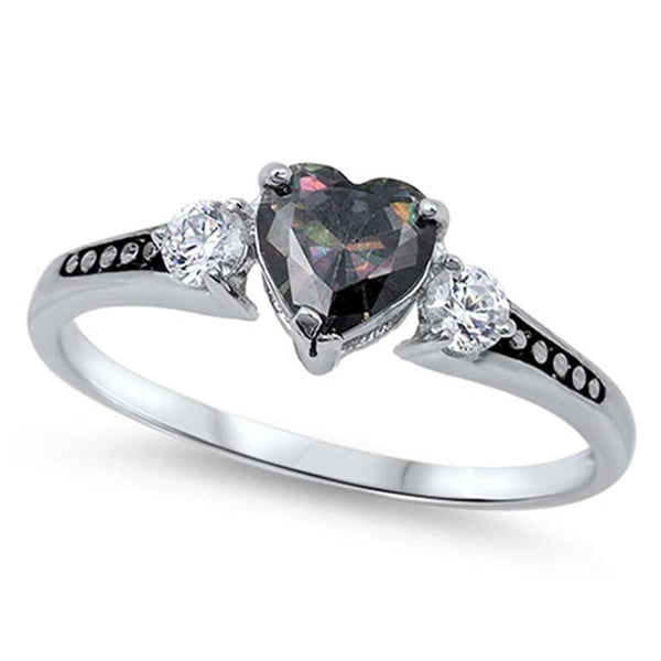 Heart Rainbow Cubic Zirconia Celtic Ring .925 Sterling Silver Ring Sizes 2-13