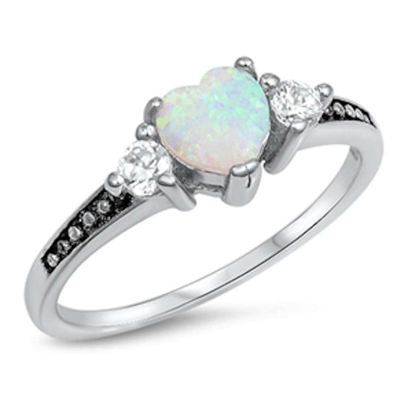 Elegant White Opal Heart & Cubic Zirconia .925 Sterling Silver Ring Sizes 4-13
