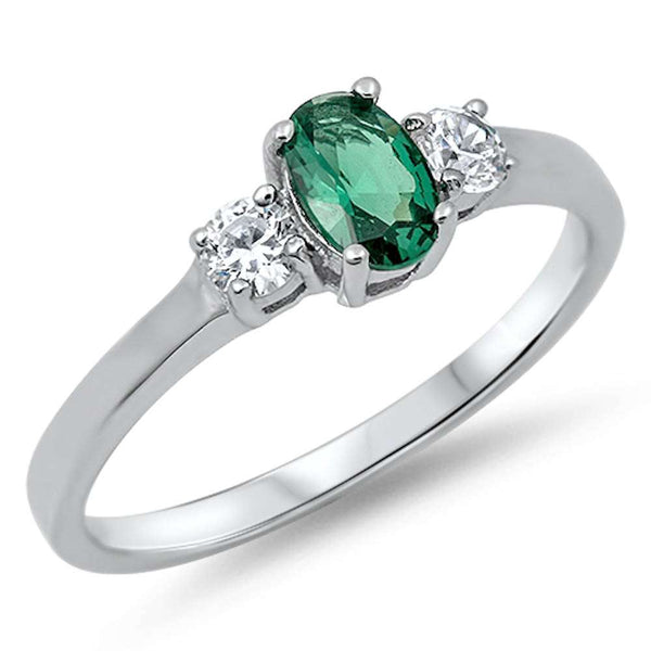 Emerald & Cz .925 Sterling Silver Ring Sizes 4-11