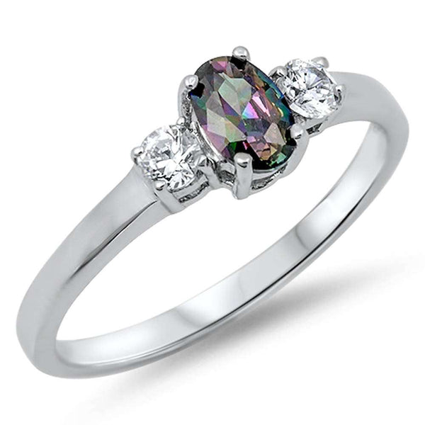 Rainbow Cz & Cz .925 Sterling Silver Ring Sizes 4-11