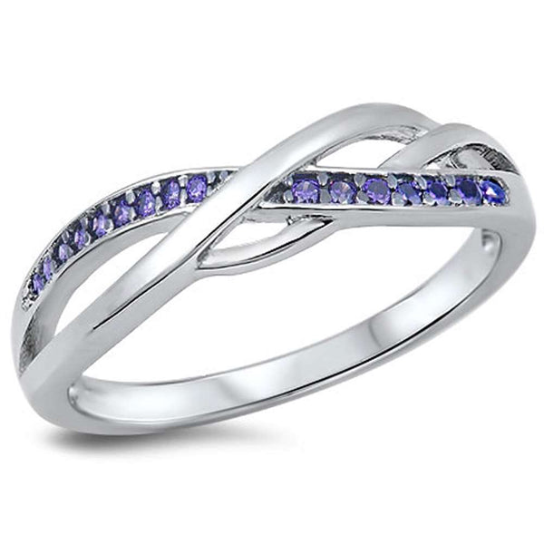Beautiful Infinity with Amethyst .925 Sterling Silver Ring Sizes 4-10